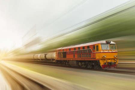 Photo pour The diesel engine train is running at speed,motion blur - image libre de droit