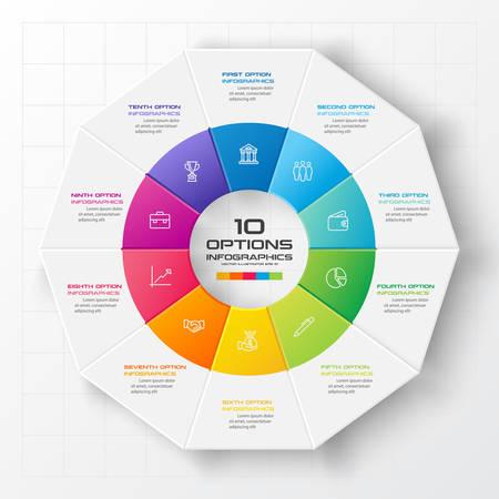 Illustration pour Decagon for infographics,Diagram with 10 options,Vector template for presentation. - image libre de droit