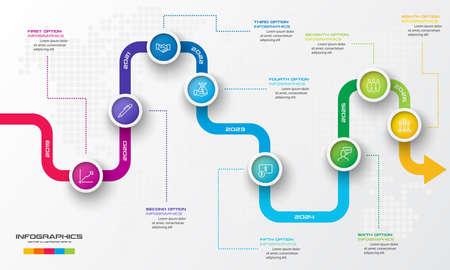 Illustration pour Timeline infographic template,Business concept with 8 options,Vector illustration. - image libre de droit