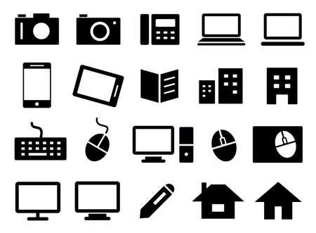 Illustration pour Set of business icons such as cameras, personal computers, telephones, books, buildings, etc. - image libre de droit