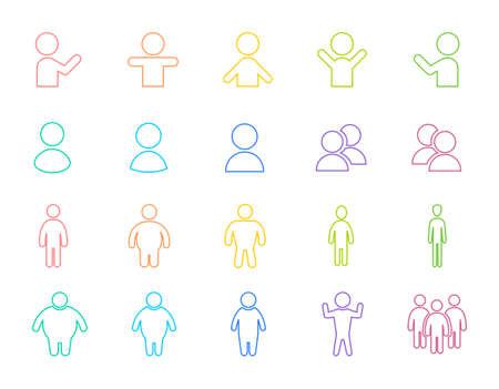 Colorful and pop human line drawing icon. Stylish icon in pastel color. Set of illustrations of human shapes of various body types.の素材 [FY310166263499]
