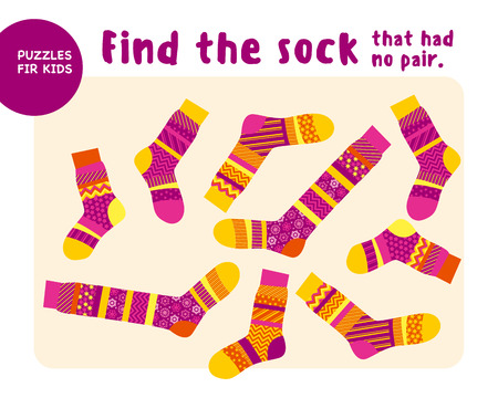 set of cool warm striped socks. Kid mind game vector illustration in Christmas style. Assorted things to find the match.
