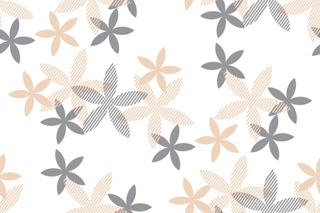 Tender rosy beige floral seamless pattern. Abstract simple geometric vanilla flowers for perfume package, background, wrapping paper, fabric. Endless repeatable motif for surface design.