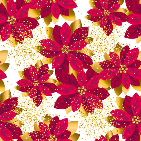 Ilustración de Xmas luxury gold poinsettia decorative flowers seamless pattern. Christmas floral motif for background, wrapping paper, fabric. Endless repeatable motif for surface design. stock vector illustration. - Imagen libre de derechos