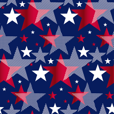 Illustration pour United States national symbol stars seamless pattern. US Memorial Day design element. Classic red and blue American repeatable motif for background. - image libre de droit