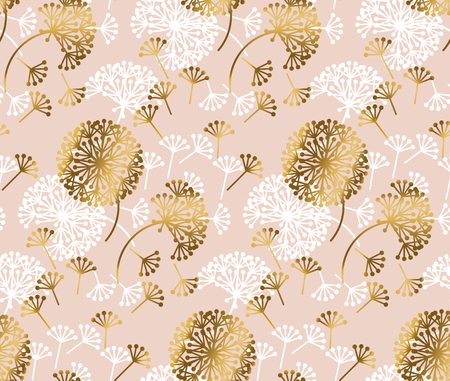 Ilustración de Rose gold concept dandelion flower seamless pattern for background, wrapping paper, fabric, surface design. stock vector illustration in fancy tender style. - Imagen libre de derechos