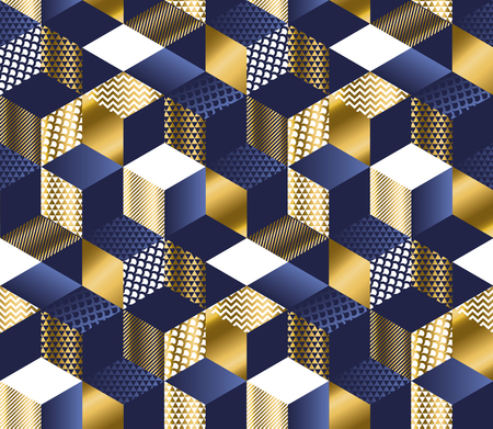 Illustration pour Geometric blue and gold cubes luxury seamless pattern. Hexagons abstract textured shapes repeatable motif for or background, wrapping paper, fabric, surface design. - image libre de droit