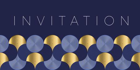 Ilustración de Geometric luxury water waves header pattern. Blue sea wave vector illustration for invitation, cover, border. element for design. - Imagen libre de derechos