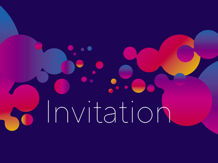 Abstract planet laconic cosmic composition. Vivid gradient circles pattern for web and print design. Vector illustration header, card, poster. Night club and nightlife design element.