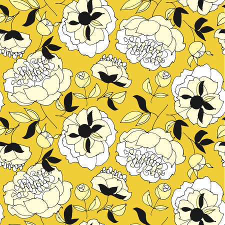 Tender spring peonies seamless pattern in yellow and white. Fabric rapport with honey gold floral elements. Repitable motif for wrap, surface design, background, textile.