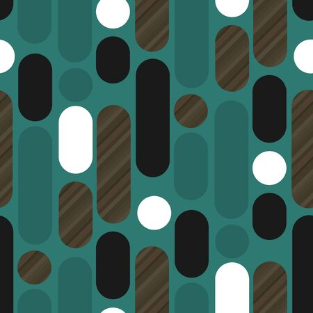 Rounded shapes laconic retro 50s wood texture and emerald green seamless pattern. Vertical trendy long oval repeatable motif for fabric, textile, wrap, surface, web and print design.