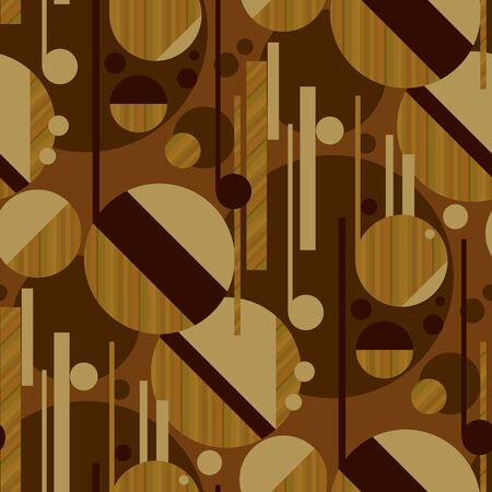 Sophisticated geometric seamless pattern with wood texture. Modern mosaic composition in 1950s style. Vector repeatable motif for fabric, textile, wrap, surface, wallpaper, web and print design.