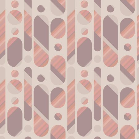 Pale tender color long oval abstract seamless pattern for background, wrap, fabric, textile, wrap, surface, web and print design. Decorative vintage vibes geometric repeatable motif
