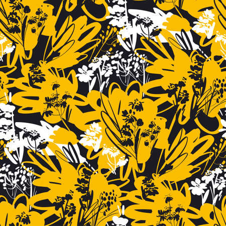 Dynamic fun and cool summer mood floral seamless pattern for background, fabric, textile, wrap, surface, web and print design. Black and yellow abstract flowers.