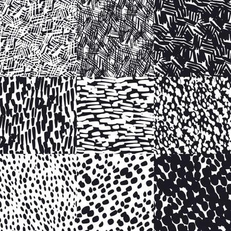 Illustration pour Monochrome black and white sketch hand drawn seamless pattern for background, fabric, textile, wrap, surface, web and print design. Textile vector tile rapport - image libre de droit