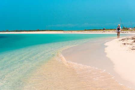 Sandy beach Playa Paradise of the island of Cayo Largo, Cuba. Copy space for text