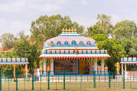 View of a gazebo in the Indian style, Puttaparthi, Andhra Pradesh, India. Copy space for text