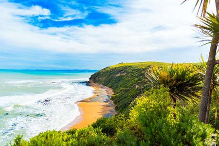 Photo pour View of Koyokokha beach in the Otago region, New Zealand. Copy space for text. - image libre de droit