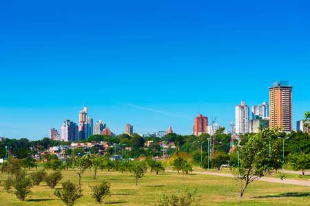 Foto de Skyscrapers and city buildings, Asuncion, Paraguay. City landscape. Copy space for text                                                 - Imagen libre de derechos