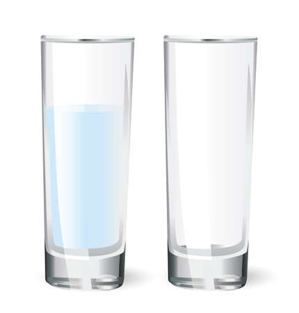 empty glass and a glass with water