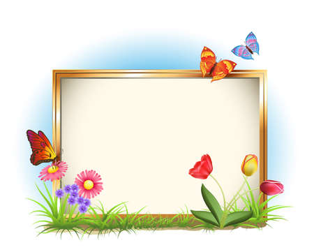 Picture Frame With Spring Flowers And Butterflies Lizenzfreie