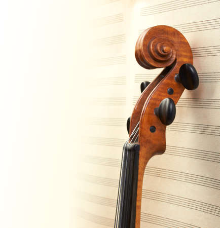 violin neck on musical sheets background