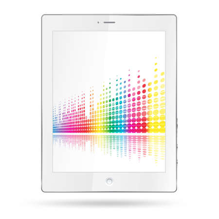 tablet pc with equalizer colorful lines: Royalty-free vector