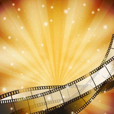 Illustration pour background with retro filmstrip and stars - image libre de droit