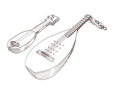 cobza musical stringed instruments drawing