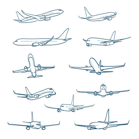 Illustration pour airplanes sketches - image libre de droit