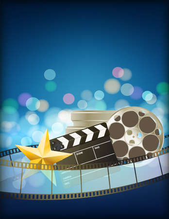 Ilustración de cinema blue background with retro filmstrip, clapper and star. vertical abstract background - Imagen libre de derechos