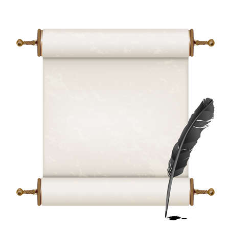 Illustration pour black feather and ancient scroll on white - image libre de droit