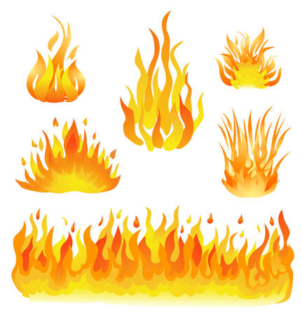 Illustration for fire and flames set vector illustration. design elements on white - Royalty Free Image