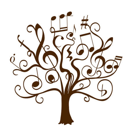 Photo pour hand drawn tree with curly twigs with musical notes and signs as leaves and flowers. abstract conceptual illustration on musical education theme. vector decorative tree of musical knowledge - image libre de droit