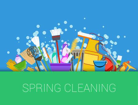 Ilustración de Spring cleaning background. Set of cleaning supplies. Tools of housecleaning. Vector - Imagen libre de derechos