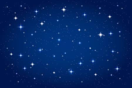 Ilustración de Night sky with shining stars background. Vector horizontal template - Imagen libre de derechos