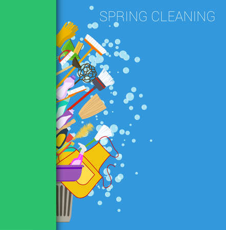 Ilustración de Spring cleaning vertical border background. Set of cleaning supplies. Tools of housecleaning. Vector - Imagen libre de derechos