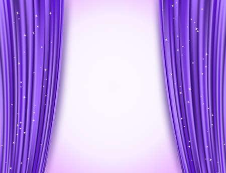 Illustration pour violet theater curtains with glitter - image libre de droit
