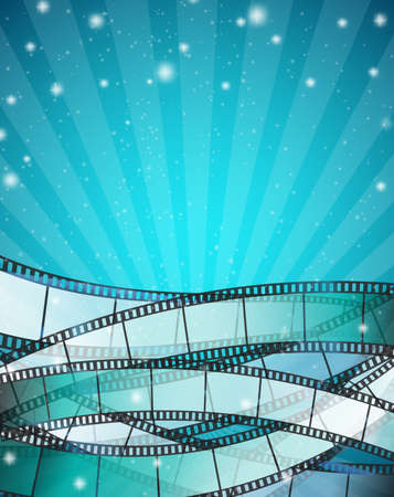 Illustration for vertical cinema background with film strips over blue background with stripes and glittering particles. vector illustration - Royalty Free Image