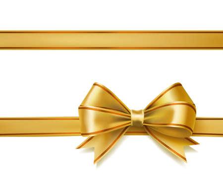 Illustration pour golden ribbon bow on white. vector decorative design elements - image libre de droit