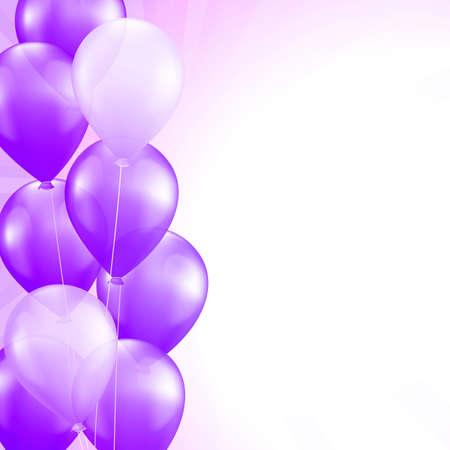 Illustration pour purple balloons border vector background - image libre de droit