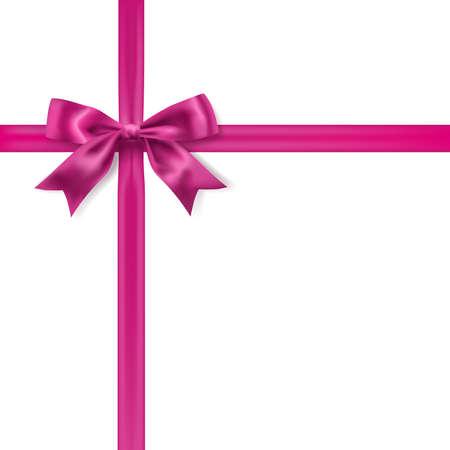 Illustration pour silk pink bow decoration on white. vector design element - image libre de droit