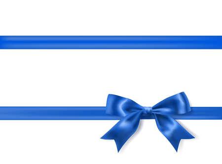Ilustración de royal blue silky bow and ribbon border on white background. vector - Imagen libre de derechos