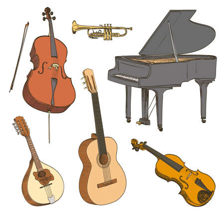 Set of hand drawn classical musical instruments. Cello, violin, guitar, mandolin, piano. Vector illustration