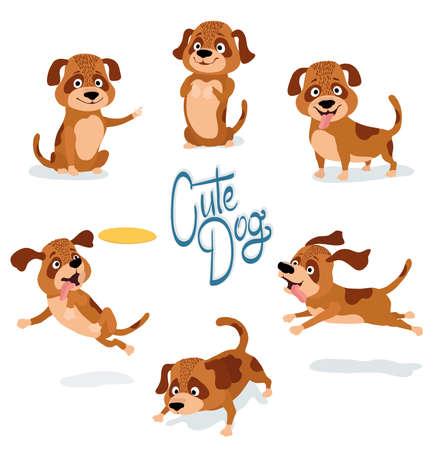 Ilustración de Cute cartoon dog set of poses on white vector illustration - Imagen libre de derechos