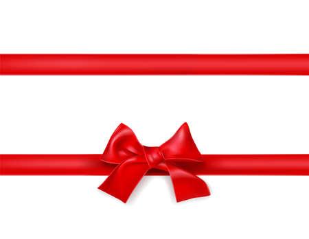 Illustration pour red silky ribbon bow knot on white. decorative design element  - image libre de droit