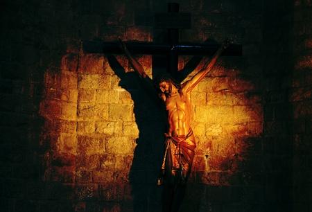 Sculpture of crucified Jesus