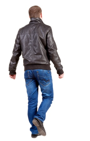 Back view of going  handsome man in jacket.  walking young guy in jeans and  jacket. Rear view people collection.  backside view of person.  Isolated over white background.の写真素材