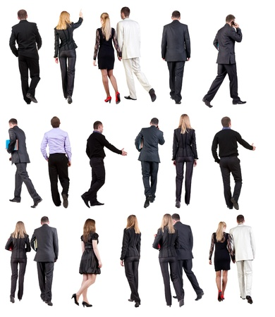 Collection   Back view of walking  business people    going woman and man in suit  Rear view people set   backside view of person   Isolated over white background の写真素材