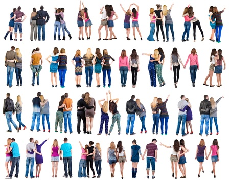 Photo pour Collection   Back view of young  couple    man and woman    beautiful friendly girl and guy together  Rear view people set   backside view of person   Isolated over white background  - image libre de droit